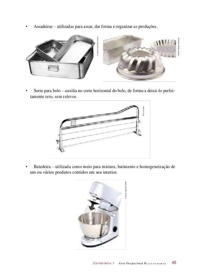 C onf eiteir o 1 • Assadeiras – utilizadas para assar, dar forma e organizar as produções. • Serra para bolo – auxilia no ...