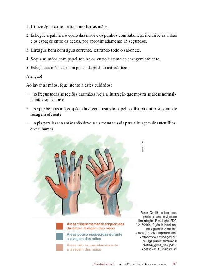 2. Esfregue C onf eiteir o 1 1. Utilize água corrente para molhar as mãos. e os espaços entre os dedos, por aproximadament...