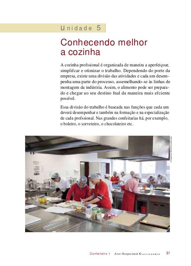 C onf eiteir o 1 u n i d a d e 5 Conhecendo melhor a cozinha A cozinha profssional é organizada de maneira a aperfeiçoar, ...
