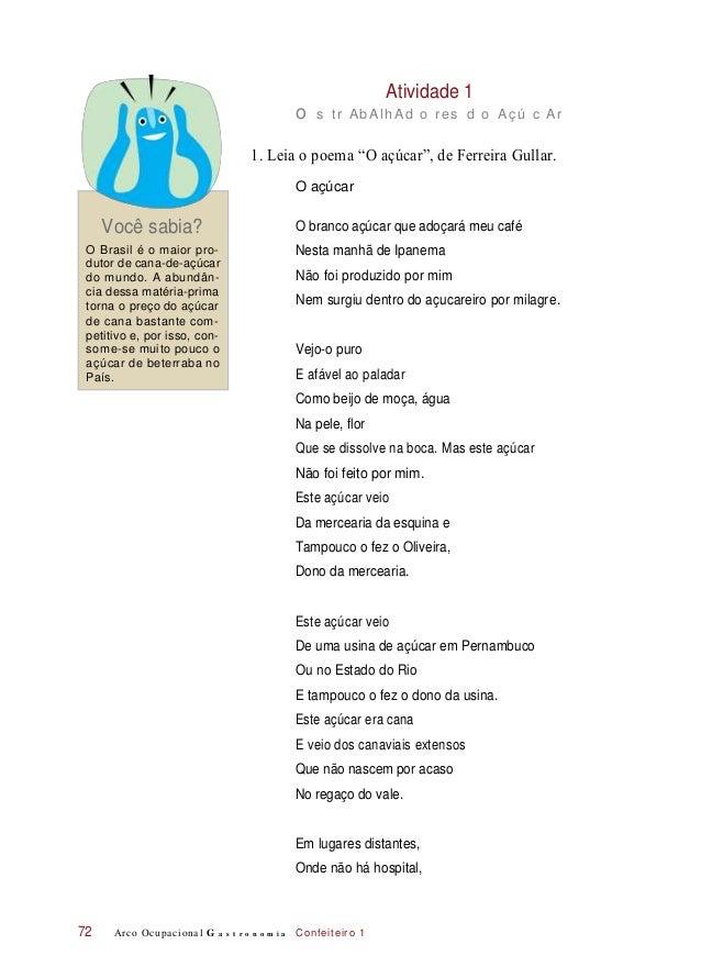 """Atividade 1 o s tr AbAlhAd o res d o Açú c Ar 1. Leia o poema """"O açúcar"""", de Ferreira Gullar. O açúcar Você sabia? O branc..."""