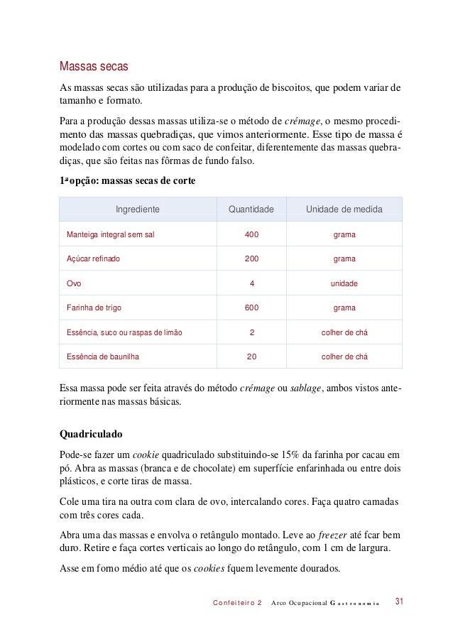 C onf eiteir o 2 Massas secas As massas secas são utilizadas para a produção de biscoitos, que podem variar de tamanho e f...
