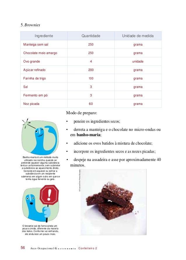 5. Brownies Modo de preparo: • peneire os ingredientes secos; • derreta a manteiga e o chocolate no micro-ondas ou em banh...