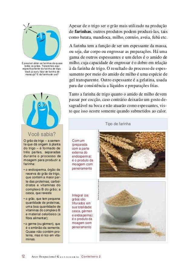 Apesar de o trigo ser o grão mais utilizado na produção de farinhas, outros produtos podem produzi-las, tais como batata, ...