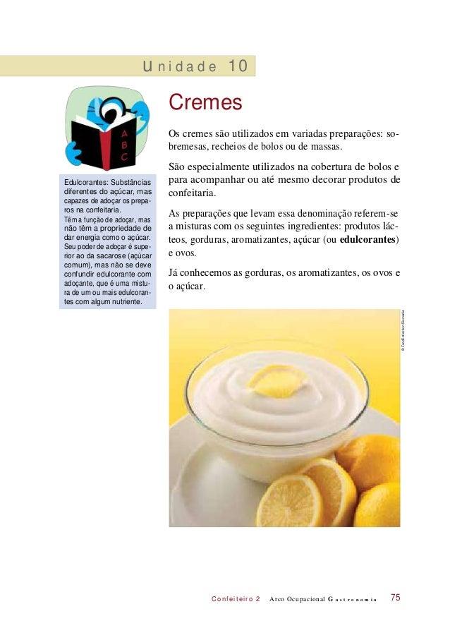C onf eiteir o 2 u n i d a d e 10 Cremes Os cremes são utilizados em variadas preparações: so- bremesas, recheios de bolos...