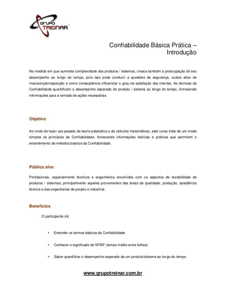 Confiabilidade Básica Prática –                                                                         IntroduçãoNa medid...