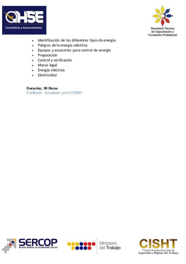 Curso control de energias peligrosas (bloqueo y etiquetado)