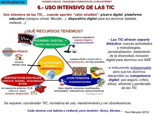 """Uso intensivo de las TIC… cuando aporten """"valor añadido"""": pizarra digital, plataforma educativa (campus virtual, Moodle…),..."""
