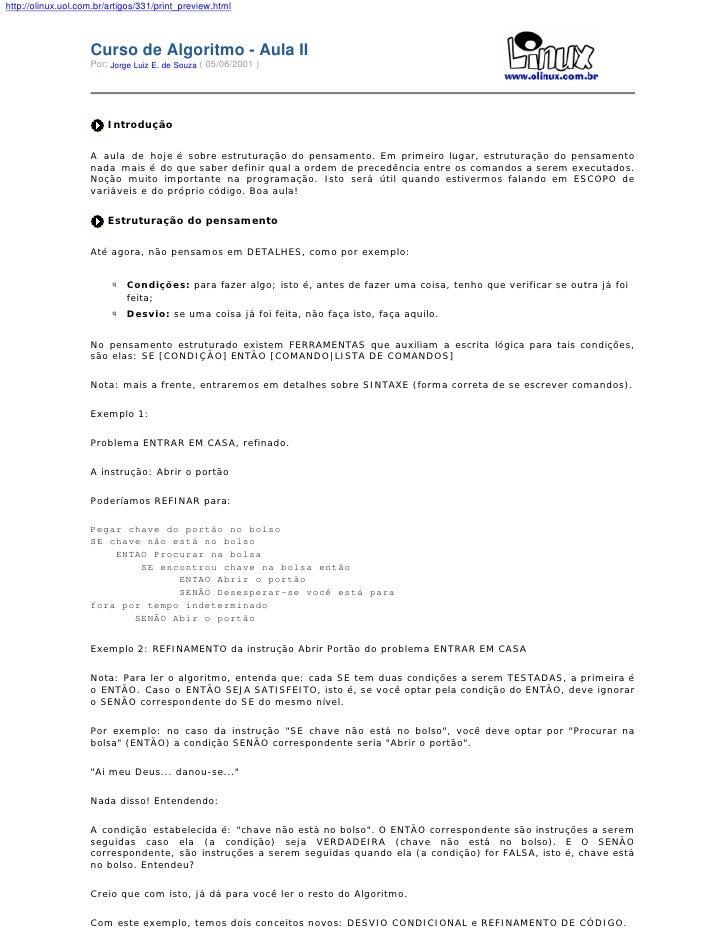 http://olinux.uol.com.br/artigos/331/print_preview.html                        Curso de Algoritmo - Aula II               ...