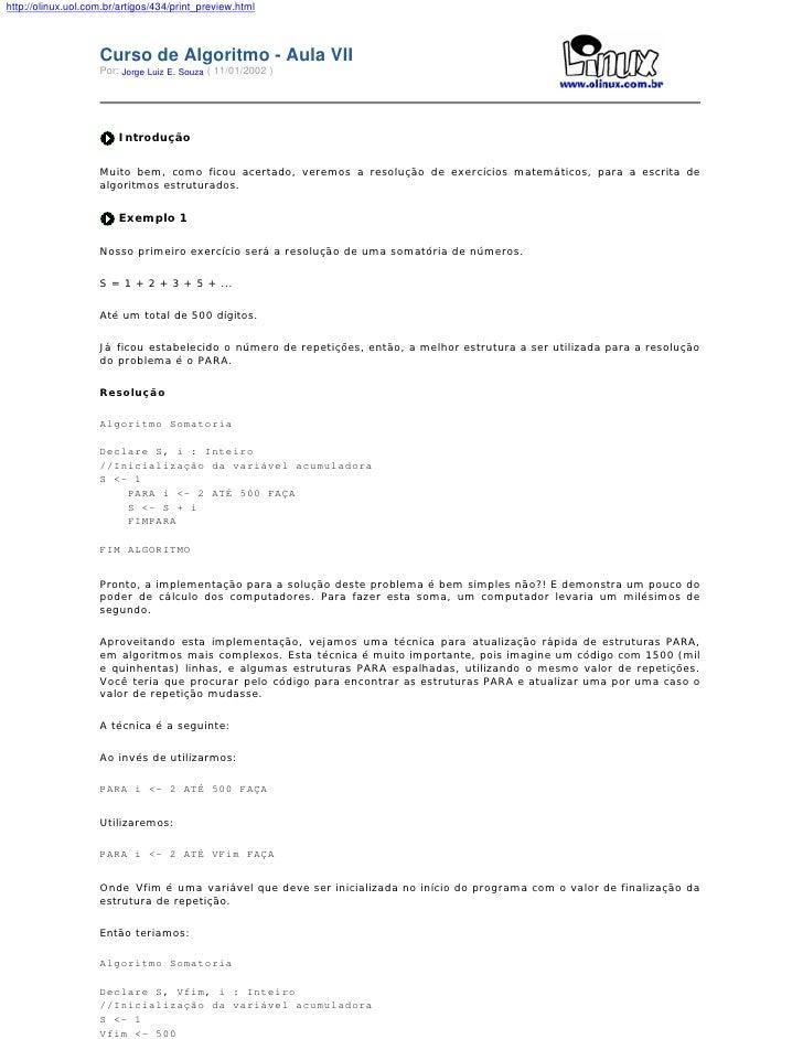 http://olinux.uol.com.br/artigos/434/print_preview.html                        Curso de Algoritmo - Aula VII              ...