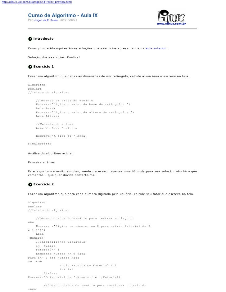 http://olinux.uol.com.br/artigos/441/print_preview.html                        Curso de Algoritmo - Aula IX               ...
