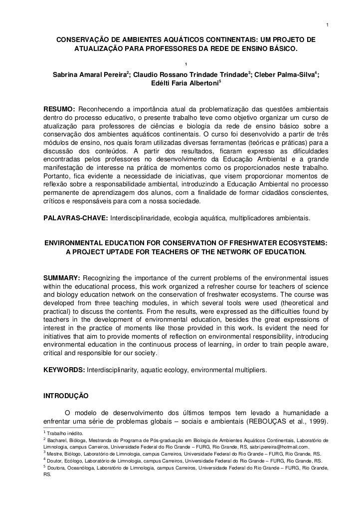 1     CONSERVAÇÃODEAMBIENTESAQUÁTICOSCONTINENTAIS:UMPROJETODE         ATUALIZAÇÃOPARAPROFESSORESDAREDEDEENSI...