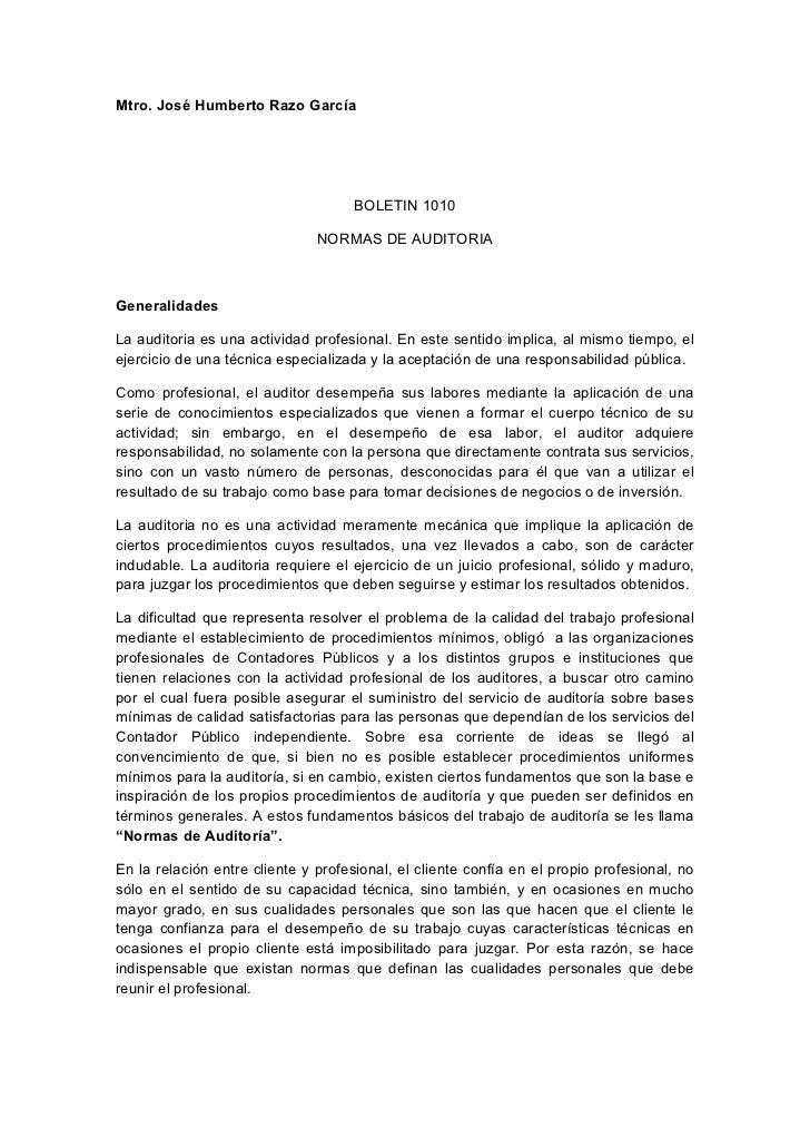 Mtro. José Humberto Razo García                                     BOLETIN 1010                               NORMAS DE A...