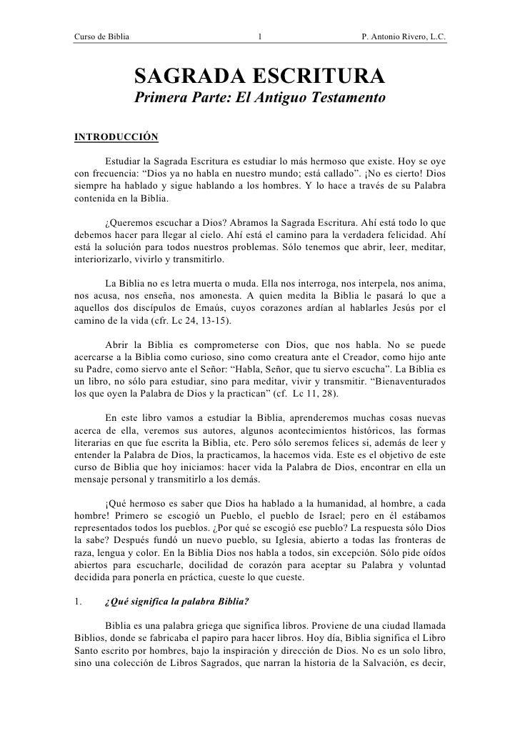 Curso de Biblia                              1                         P. Antonio Rivero, L.C.                  SAGRADA ES...