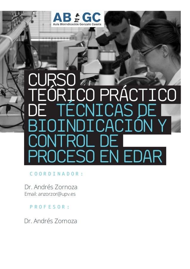 CURSO TEÓRICO PRÁCTICO DE TÉCNICAS DE BIOINDICACIÓN Y CONTROL DE PROCESO EN EDAR C O O R D I N A D O R : Dr. Andrés Zornoz...