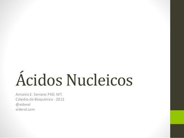 Ácidos Nucleicos Antonio E. Serrano PhD. MT. Cátedra de Bioquímica - 2012 @xideral xideral.com