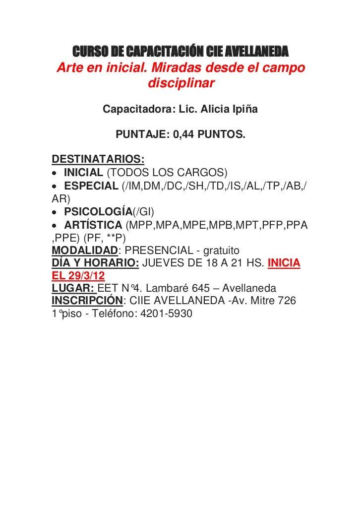 Curso de capacitaci n cie avellaneda for Municipalidad de avellaneda cursos
