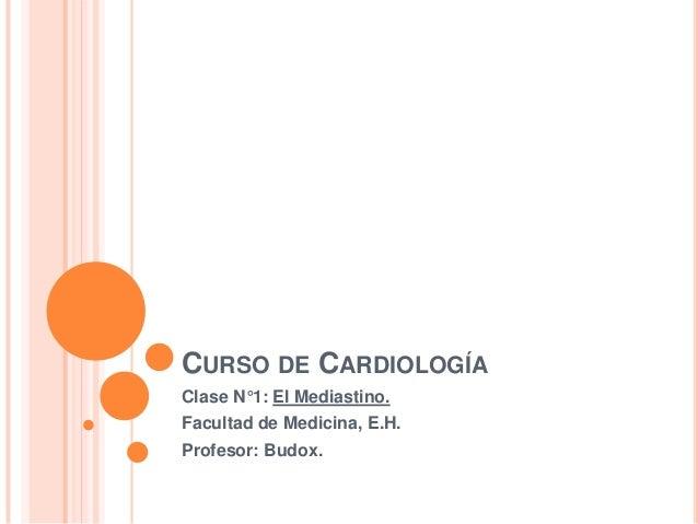 CURSO DE CARDIOLOGÍAClase N°1: El Mediastino.Facultad de Medicina, E.H.Profesor: Budox.