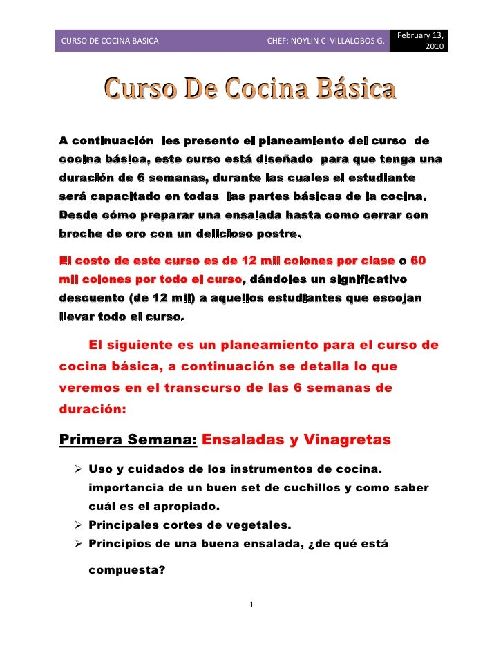 curso de cocina b sica
