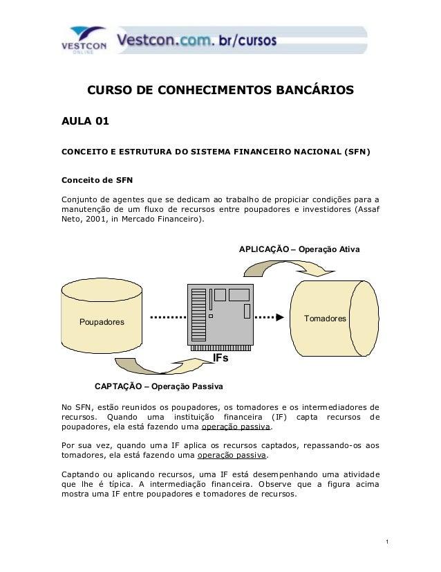 CURSO DE CONHECIMENTOS BANCÁRIOS  AULA 01  CONCEITO E ESTRUTURA DO SISTEMA FINANCEIRO NACIONAL (SFN)  Conceito de SFN  Con...