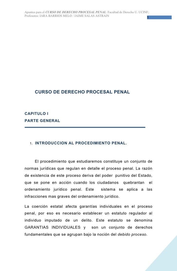 Apuntes para el CURSO DE DERECHO PROCESAL PENAL. Facultad de Derecho U. UCINF; Profesores: IARA BARRIOS MELO / JAIME SALAS...
