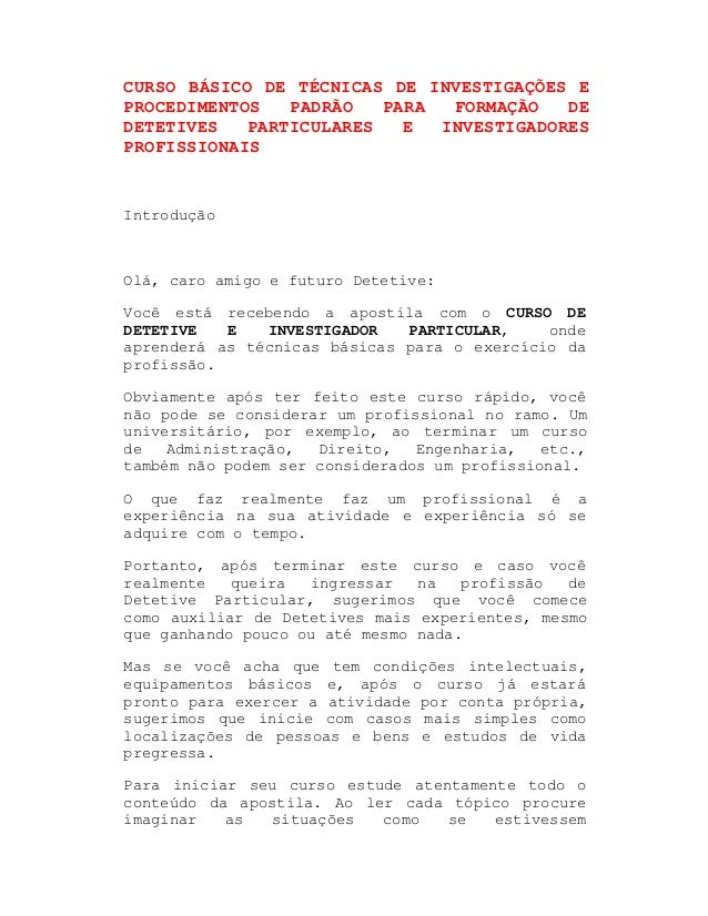 048a8aedf60bb CURSO BÁSICO DE TÉCNICAS DE INVESTIGAÇÕES E PROCEDIMENTOS PADRÃO PARA  FORMAÇÃO DE DETETIVES PARTICULARES E INVESTIGADORES ...