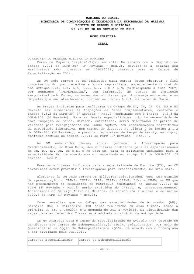 - 1 de 38 - MARINHA DO BRASIL DIRETORIA DE COMUNICAÇÕES E TECNOLOGIA DA INFORMAÇÃO DA MARINHA BOLETIM DE ORDENS E NOTÍCIAS...