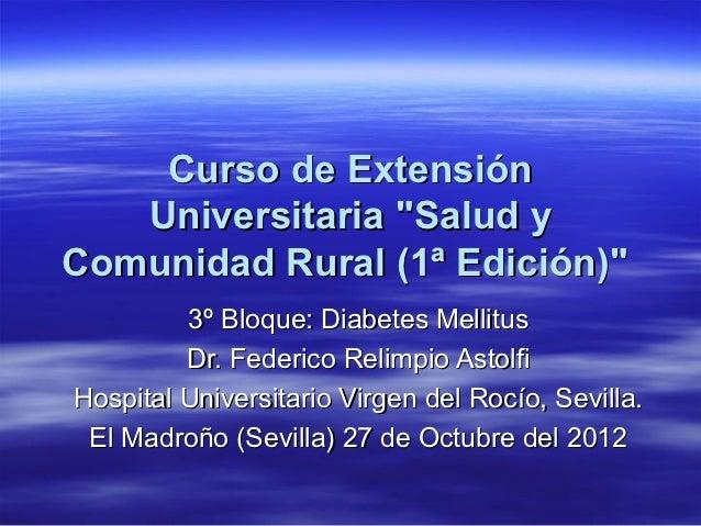 """Curso de Extensión   Universitaria """"Salud yComunidad Rural (1ª Edición)""""         3º Bloque: Diabetes Mellitus         Dr. ..."""