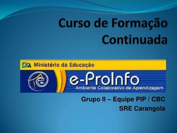 Grupo II – Equipe PIP / CBC             SRE Carangola