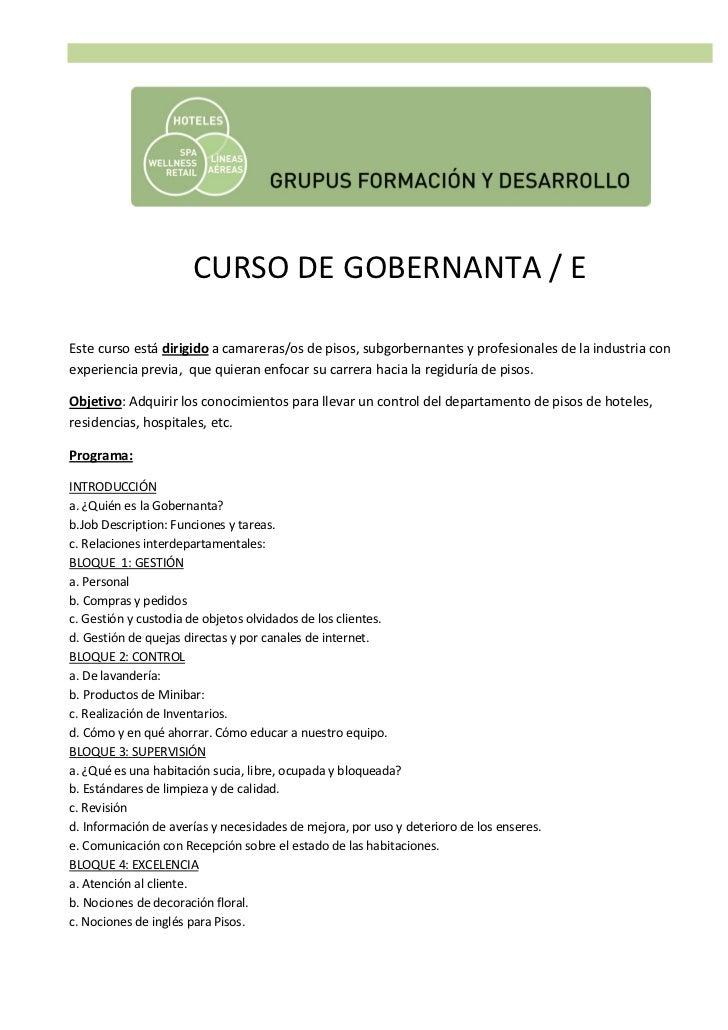 Curso de gobernanta gobernante de hotel - Camarera de pisos curso gratuito ...