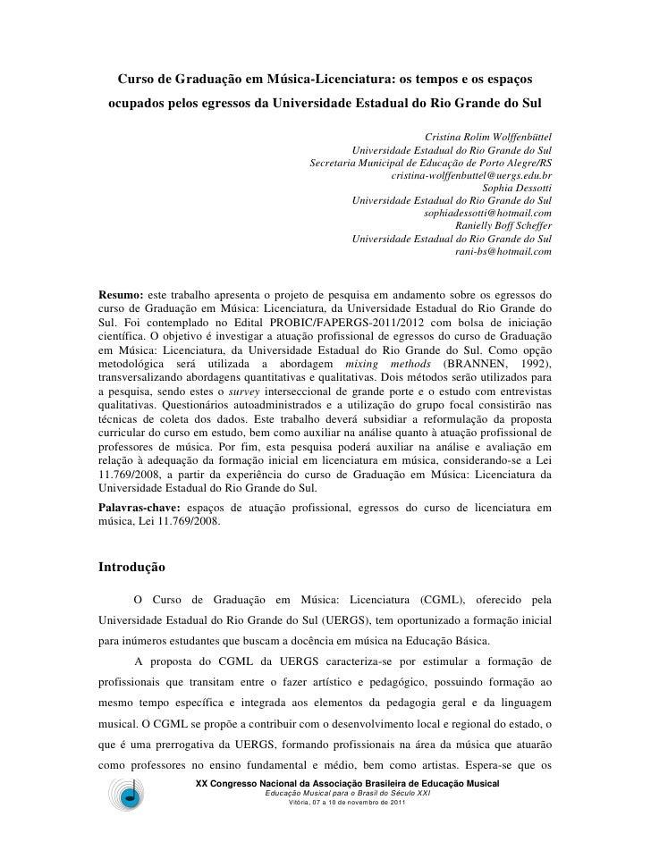 Curso de Graduação em Música-Licenciatura: os tempos e os espaços  ocupados pelos egressos da Universidade Estadual do Rio...