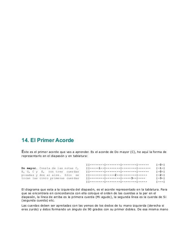 14. El Primer Acorde Este es el primer acorde que vas a aprender. Es el acorde de Do mayor (C), he aquí la forma de repres...