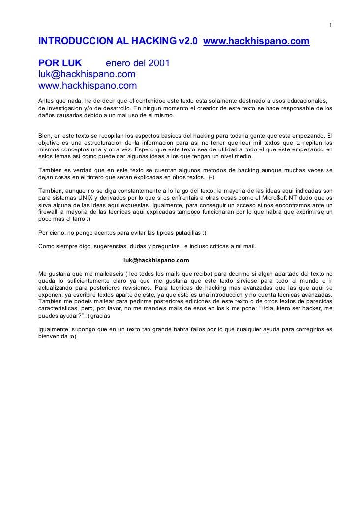 1INTRODUCCION AL HACKING v2.0 www.hackhispano.comPOR LUK      enero del 2001luk@hackhispano.comwww.hackhispano.comAntes qu...