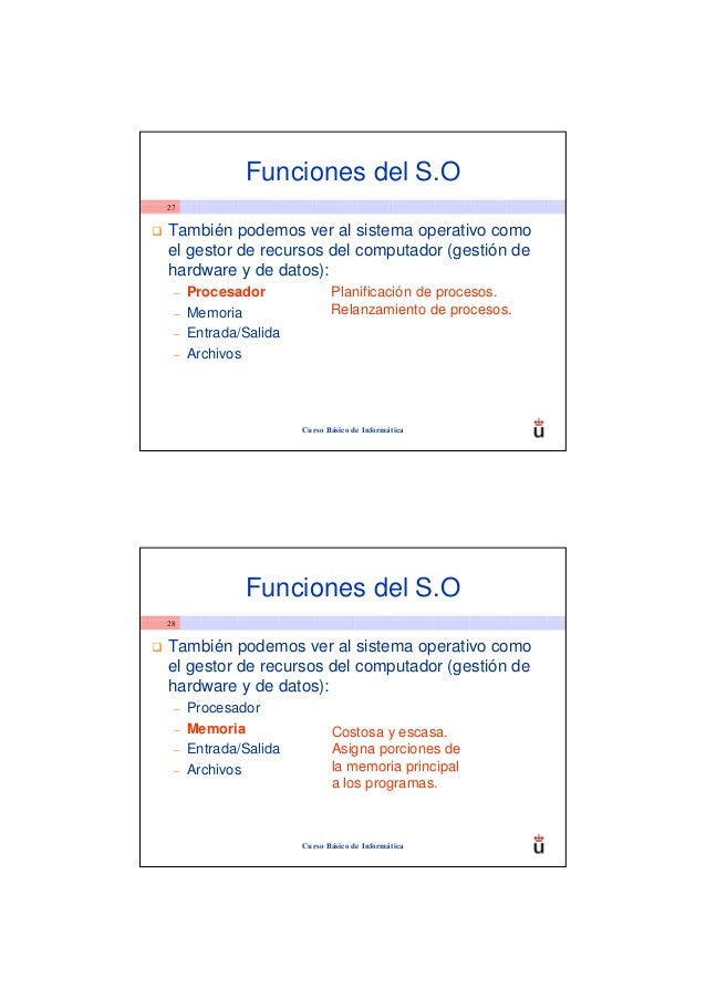 Funciones del S.O27También podemos ver al sistema operativo comoel gestor de recursos del computador (gestión dehardware y...