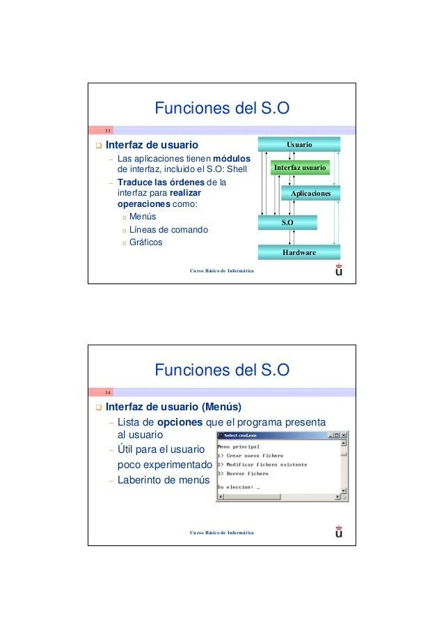 Funciones del S.O33Interfaz de usuario                                      Usuario –   Las aplicaciones tienen módulos   ...