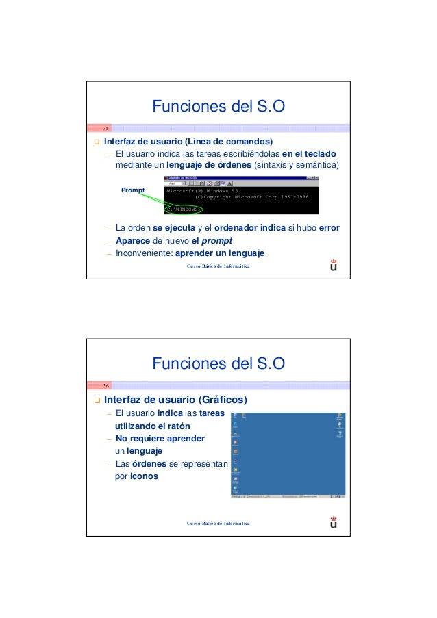 Funciones del S.O35Interfaz de usuario (Línea de comandos) – El usuario indica las tareas escribiéndolas en el teclado   m...