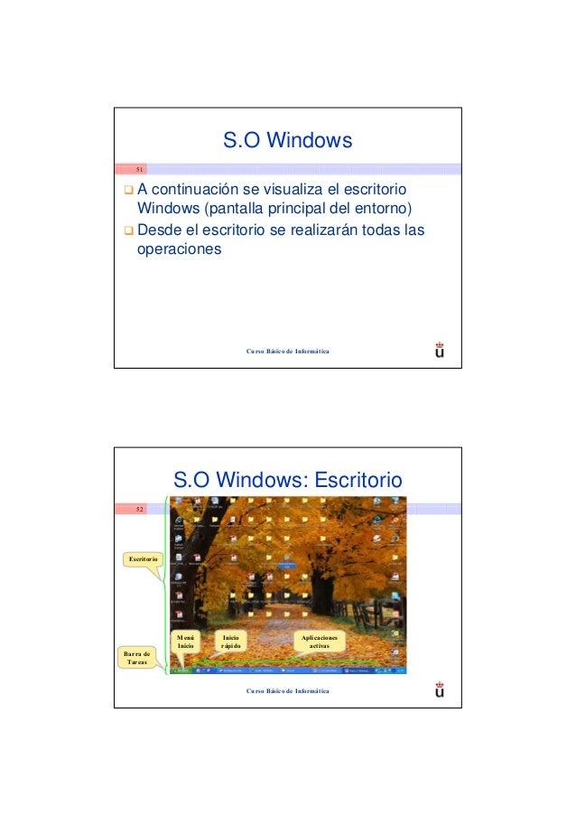 S.O Windows   51    A continuación se visualiza el escritorio    Windows (pantalla principal del entorno)    Desde el escr...
