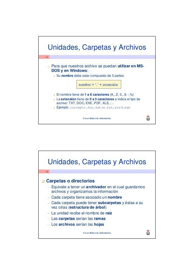 Unidades, Carpetas y Archivos61 –   Para que nuestros archivo se puedan utilizar en MS-     DOS y en Windows:      o   Su ...