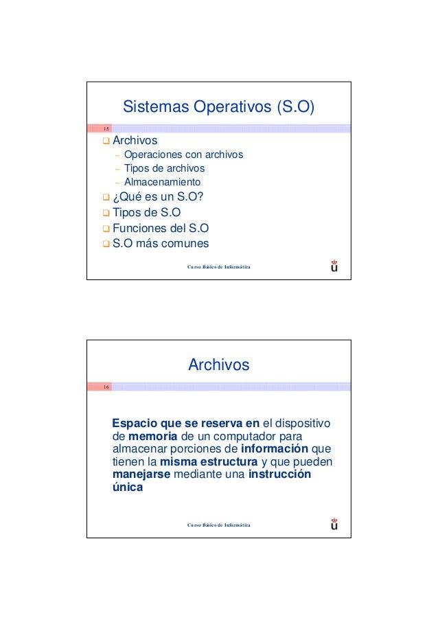 Sistemas Operativos (S.O)15     Archivos     –   Operaciones con archivos     –   Tipos de archivos     –   Almacenamiento...