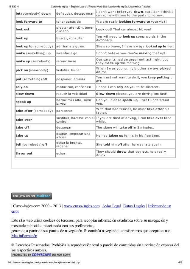 Curso de ingles english lesson phrasal verb list (lección de