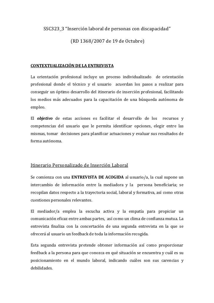 """SSC323_3 """"Inserción laboral de personas con discapacidad""""                      (RD 1368/2007 de 19 de Octubre)CONTEXTUALIZ..."""