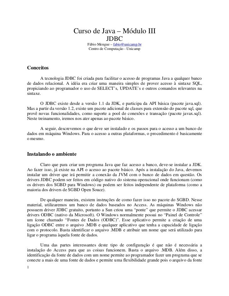 Curso de Java – Módulo III                                            JDBC                                 Fábio Mengue – ...