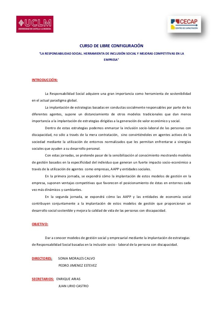 """CURSO DE LIBRE CONFIGURACIÓN    """"LA RESPONSABILIDAD SOCIAL. HERRAMIENTA DE INCLUSIÓN SOCIAL Y MEJORAS COMPETITIVAS EN LA  ..."""