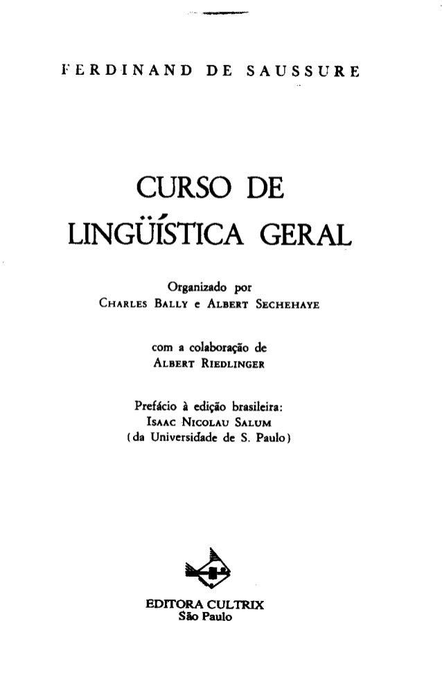 Curso de linguistica geral   ferdinand de saussure