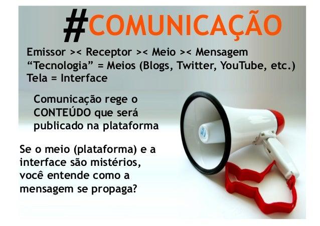 """#COMUNICAÇÃO Emissor >< Receptor >< Meio >< Mensagem """"Tecnologia"""" = Meios (Blogs, Twitter, YouTube, etc.) Tela = Interface..."""