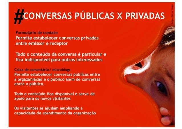 #    CONVERSAS PÚBLICAS X PRIVADASFormulário de contatoPermite estabelecer conversas privadasentre emissor e receptorTodo ...