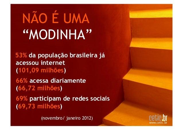 """NÃO É UMA  """"MODINHA""""53% da população brasileira jáacessou internet (101,09 milhões)66% acessa diariamente (66,72 milhõe..."""