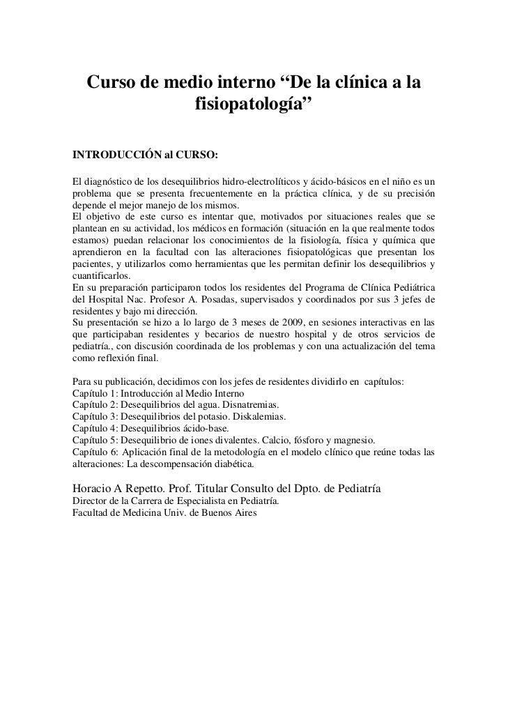 """Curso de medio interno """"De la clínica a la               fisiopatología""""INTRODUCCIÓN al CURSO:El diagnóstico de los desequ..."""