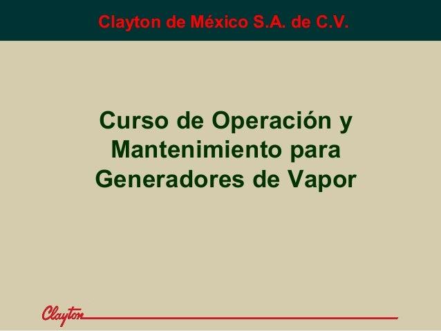 Clayton de México S.A. de C.V.  Curso de Operación y Mantenimiento para Generadores de Vapor