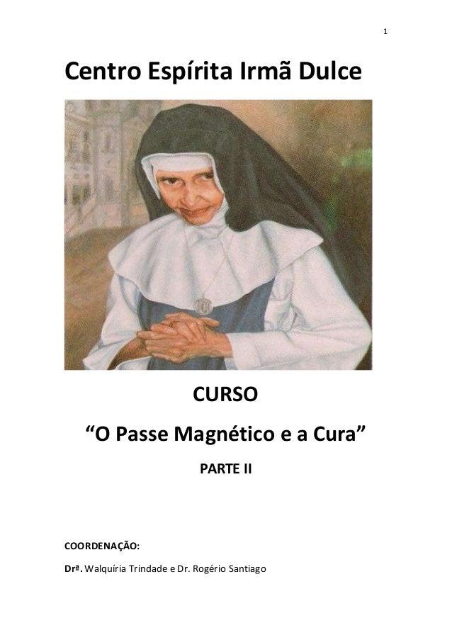"""1 Centro Espírita Irmã Dulce CURSO """"O Passe Magnético e a Cura"""" PARTE II COORDENAÇÃO: Drª. Walquíria Trindade e Dr. Rogéri..."""