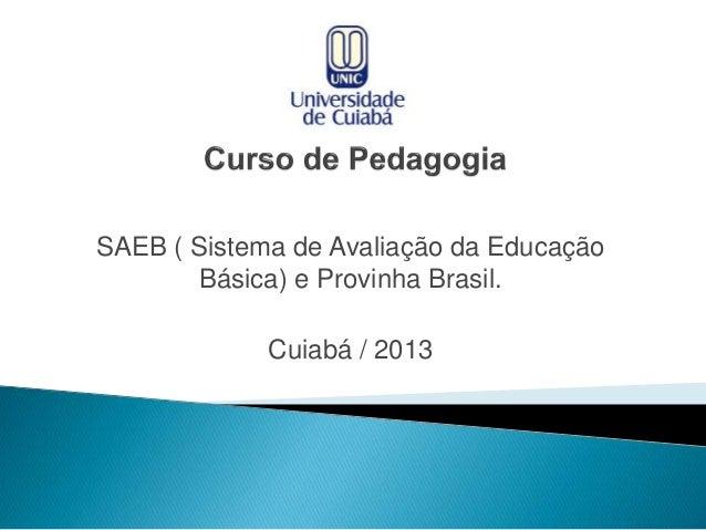 SAEB ( Sistema de Avaliação da Educação Básica) e Provinha Brasil. Cuiabá / 2013